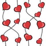 Fundo sem emenda dos corações vermelhos abstratos Imagens de Stock Royalty Free