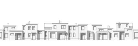 Fundo sem emenda dos desenhos animados da arquitetura da cidade Imagens de Stock Royalty Free