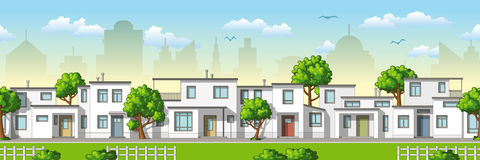 Fundo sem emenda dos desenhos animados da arquitetura da cidade Fotos de Stock