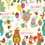 Fundo sem emenda dos desenhos animados do feliz aniversario Fotografia de Stock Royalty Free