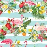 Fundo sem emenda dos frutos tropicais, das flores e dos pássaros do flamingo Teste padrão retro do verão ilustração royalty free