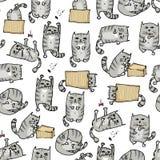 Fundo sem emenda dos gatinhos bonitos Vetor ilustração stock