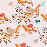 Fundo sem emenda dos pássaros ilustração royalty free