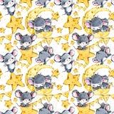 Fundo sem emenda dos ratos bonitos Rato engraçado dos desenhos animados ilustração do vetor