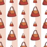 Fundo sem emenda dos sacos vermelhos das mulheres ilustração stock