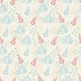 Fundo sem emenda dos testes padrões das folhas da planta e dos ramos das folhas nas cores pastel em um fundo bege ilustração stock
