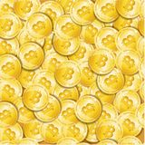 Fundo sem emenda dourado detalhado realístico do teste padrão de 3d Bitcoin Vetor Ilustração Stock