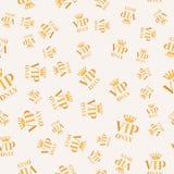 Fundo sem emenda dourado do sinal do vip somente Projeto de cartão do teste padrão do Vip Ilustração luxuosa do membro ilustração stock