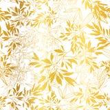 Fundo sem emenda dourado do teste padrão da repetição das folhas e dos ramos do vetor Pode ser usado para a tela, papel de parede Fotografia de Stock