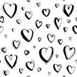 Fundo sem emenda feliz decorativo do teste padrão dos corações do dia de Valentim tirado mão ilustração do vetor