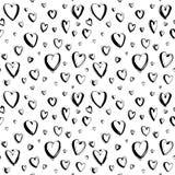 Fundo sem emenda feliz decorativo do teste padrão dos corações do dia de Valentim tirado mão ilustração stock