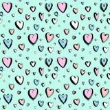 Fundo sem emenda feliz decorativo do teste padrão dos corações do dia de Valentim tirado mão fotos de stock