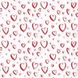 Fundo sem emenda feliz decorativo do teste padrão dos corações do dia de Valentim tirado mão imagens de stock