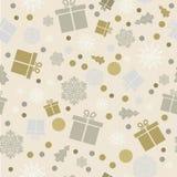 Fundo sem emenda Flocos de neve, presentes, queda de neve Venda do Natal ilustração royalty free