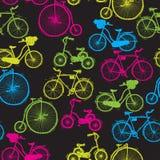Fundo sem emenda Grupo da bicicleta St do esboço Fotos de Stock Royalty Free