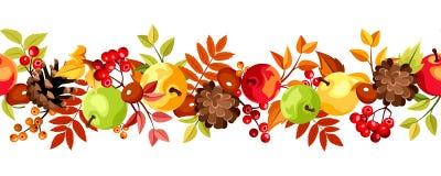 Fundo sem emenda horizontal com as folhas, as maçãs e os cones coloridos de outono Ilustração do vetor Fotos de Stock