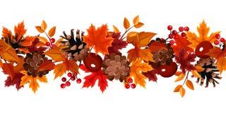 Fundo sem emenda horizontal com folhas de outono. Fotos de Stock