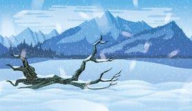 Fundo sem emenda horizontal da paisagem com floresta do inverno Fotos de Stock