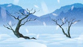Fundo sem emenda horizontal da paisagem com floresta do inverno Foto de Stock