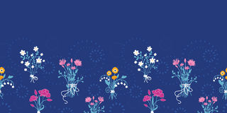 Fundo sem emenda horizontal do teste padrão dos ramalhetes da flor fresca ilustração do vetor