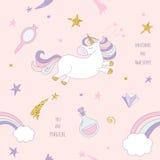 Fundo sem emenda mágico do teste padrão do unicórnio com arco-íris, estrelas e diamantes no rosa pastel Para a cópia e a Web ilustração royalty free