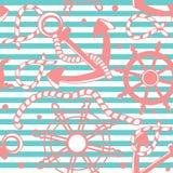 Fundo sem emenda marinho com escora, cordas. Imagens de Stock Royalty Free