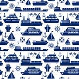 Fundo sem emenda marinho dos navios e dos barcos ilustração royalty free