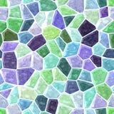 Fundo sem emenda pastel da textura do teste padrão do mosaico rochoso irregular de mármore verde e roxo com grout branco Imagem de Stock