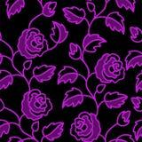 Fundo sem emenda preto com rosas Fotos de Stock