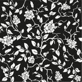 Fundo sem emenda preto com rosas brancas Fotografia de Stock Royalty Free