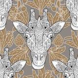 Fundo sem emenda principal do bege do teste padrão do girafa Ilustração do Vetor