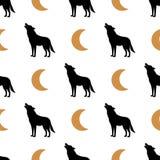 Fundo sem emenda simples com uma imagem do lobo e da lua Preto e ouro Vetor Teste padrão Ilustração de Vectoral ilustração stock