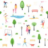 Fundo sem emenda, teste padrão Teste padrão do verão com povos dos caráteres, parque de passeio ilustração stock