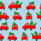 Fundo sem emenda, teste padrão O carro leva uma árvore de Natal para decorar a casa Ajuste o carro em um fundo azul Vecto colorid Fotografia de Stock Royalty Free