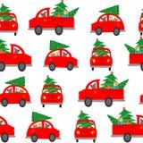 Fundo sem emenda, teste padrão O carro leva uma árvore de Natal para decorar a casa Ilustração colorida do vetor para o inverno Foto de Stock Royalty Free