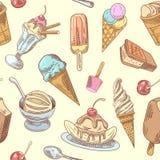 Fundo sem emenda tirado mão do gelado com sobremesas, frutos e chocolate, cones e waffles frios ilustração do vetor