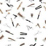Fundo sem emenda Um grupo de ícones para o cabeleireiro ou o barbeiro Foto de Stock Royalty Free