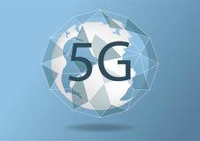 Fundo sem fio novo abstrato da conex?o a Internet 5G do vetor Rede da alta velocidade da rede global s?mbolo 5g Conceito no azul ilustração royalty free