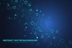 Fundo sextavado abstrato com ondas Estruturas moleculars sextavadas Fundo futurista da tecnologia na ciência ilustração stock