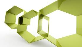 Fundo sextavado abstrato verde da pilha rendido ilustração do vetor
