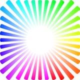 Fundo sob a forma de um sol colorido com raios ilustração do vetor