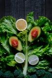Fundo sob a forma dos legumes frescos e do fruto em um rústico Fotografia de Stock