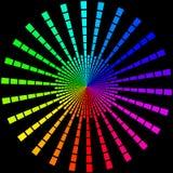 Fundo sob a forma dos raios coloridos sob a forma de um círculo em um preto ilustração royalty free