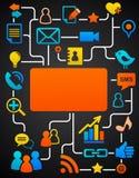 Fundo social da rede com ícones dos media