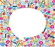 Fundo social do ícone da bolha do discurso Imagens de Stock