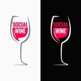Fundo social do conceito dos meios do vidro de vinho Fotografia de Stock Royalty Free