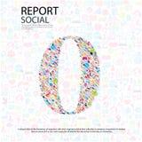 Fundo social do network number com ícones dos meios Imagens de Stock