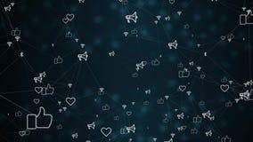 Fundo social movente abstrato da rede fundo das coisas conectadas lentas Internet das coisas video estoque