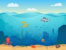 Fundo subaquático da cor da cena do mar dos desenhos animados Vetor ilustração royalty free