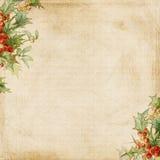 Fundo sujo do frame do azevinho do Natal Fotos de Stock